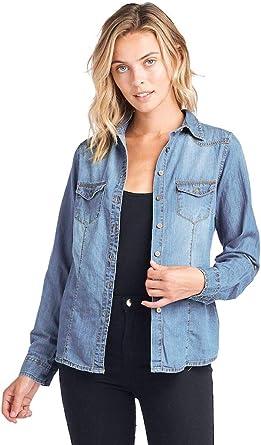 ICONICC Chambray - Camisa Vaquera de Manga Larga para Mujer - Azul - X-Large: Amazon.es: Ropa y accesorios