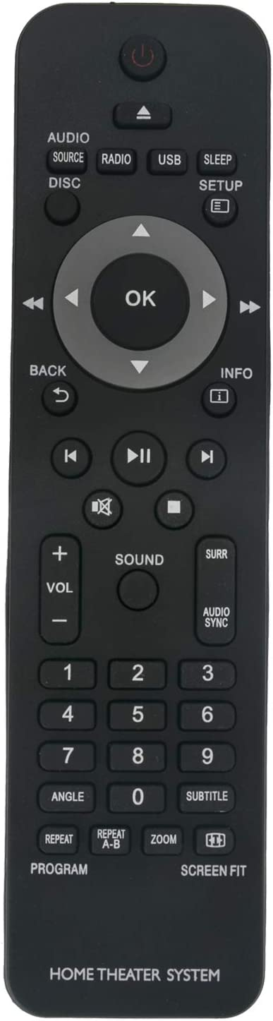 New Replacement Remote Control fit for Philips Home Theater System HTD3200 HTS2200 HTS2500 HTS2511 HTS3019 HTS3020 HTS3201 HTS3269 HTS3270 HTS3277 HTS3373 HTS3376 HTS3377 HTS3510 HTS3520 HTS3530