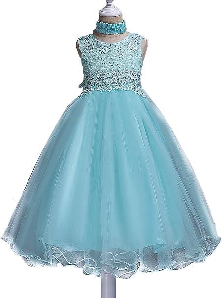 Shiny Toddler Vestidos de Fiesta para Chicas 7 a 8 Azul