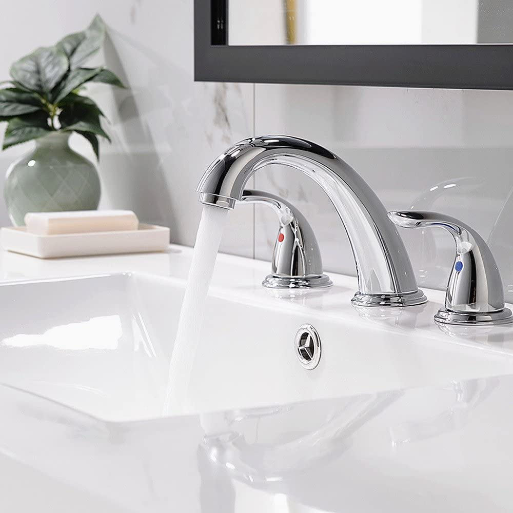 Phiestina Lead Free 3 Holes Two Handles Lavatory Vanity Sink Widespread Brushed Nickel Bathroom Faucet,Oil Rubbed Bronze Without Drain