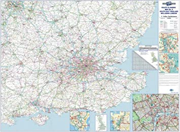 S E England Map.Map Marketing Wall Road Map 4 Miles To 1 Inch Scale W1240xh950mm Se