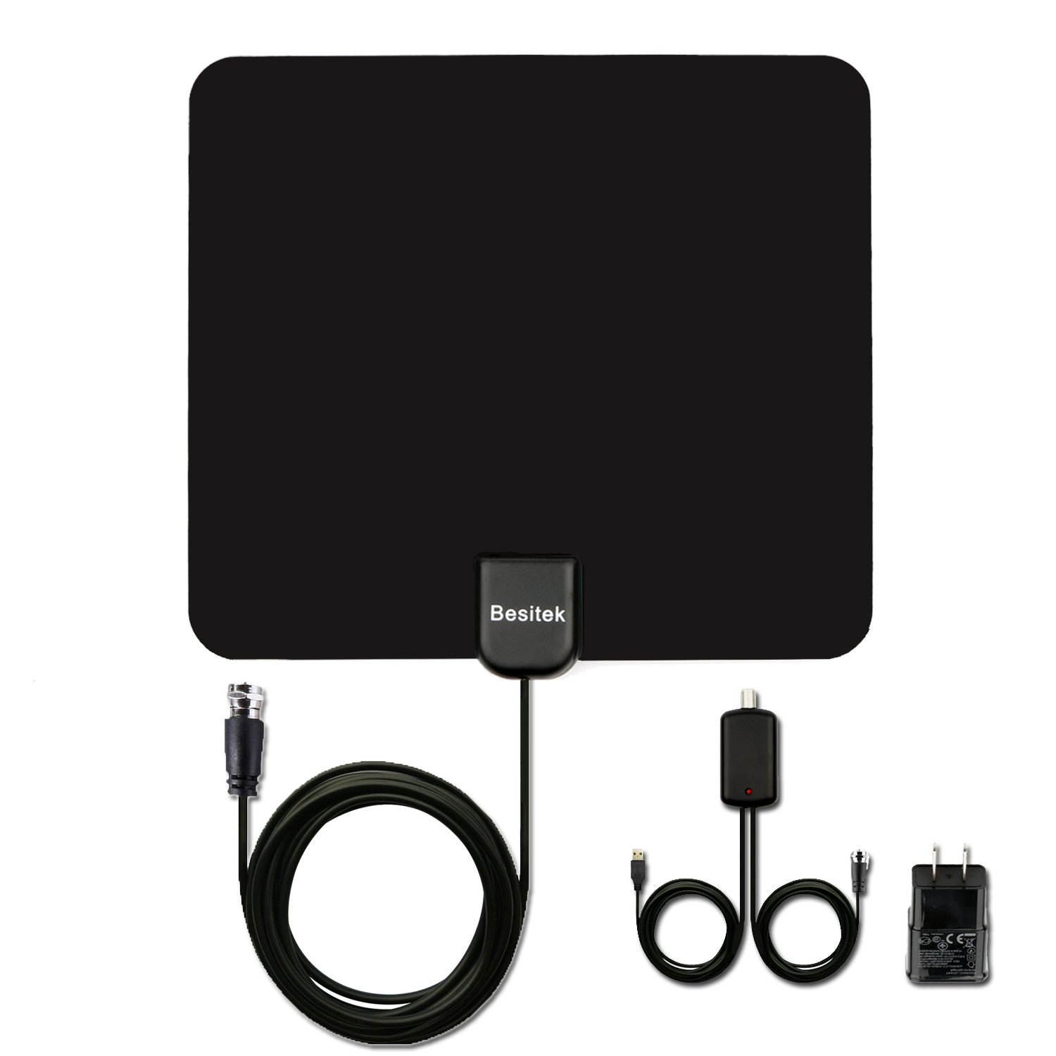 TV antenna, HDTV Indoor Antenna 50 Miles Digital Long Range With Amplifier Signal Booster Upgraded Version-10ft Coax Cable