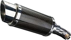 "Delkevic Aftermarket Slip On compatible with Kawasaki Ninja 650 Versys 650 & ER-6N Mini 8"" Carbon Fiber Round Muffler 06-14"