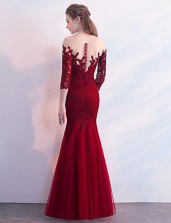 OYISHA Womens 3/4 Sleeve Mermaid Prom Dress Appliqued Wedding Evening Gown EV111 at Amazon Womens Clothing store: