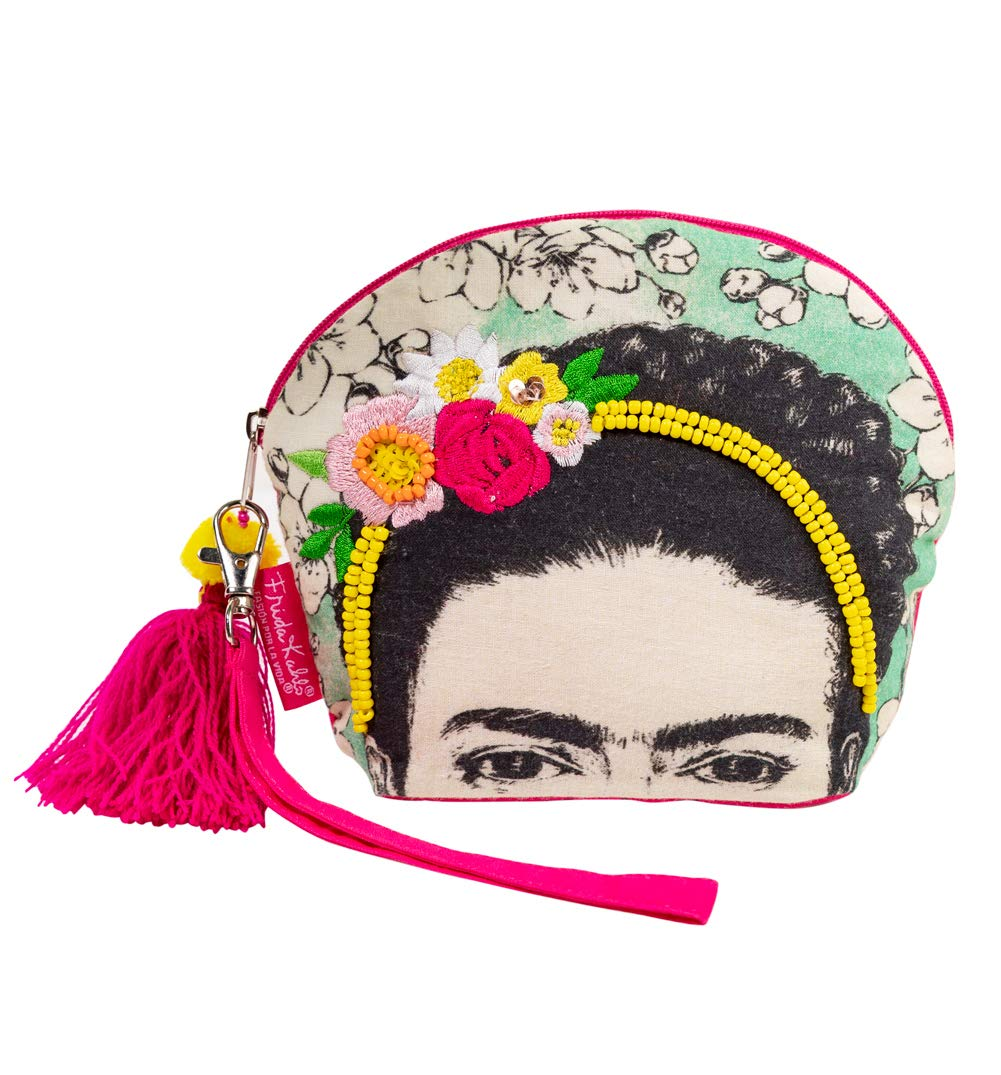 Frida Kahlo Beaded Make Up Bag With Tassel from House of Disaster by House Of Disaster