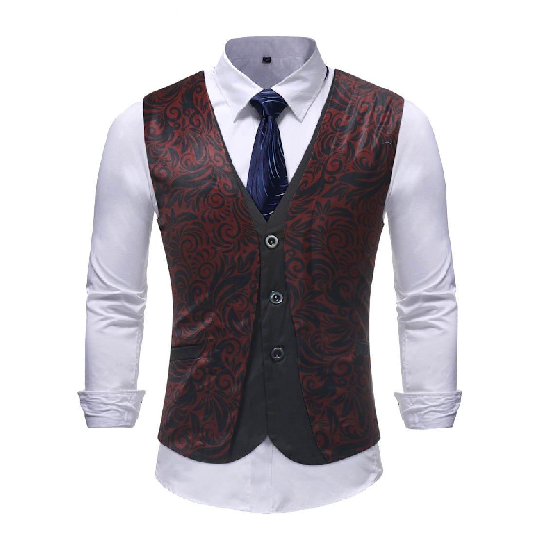 Howme Men Party Slim Formal Fashion Wedding Button Suit Separate Vest