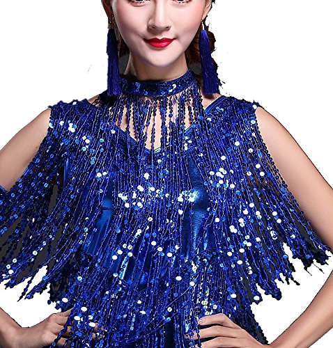 Whitewed Antique Fringe Gatsby Flapper Costume Neck Piece Choker Accessories Blue