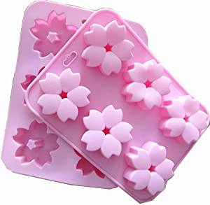 2 Pack Flowers Shaped Silicone Mold 6 Cavity Sakura Baking Tray Cookie Mold Baking Tray Desserts Making Pan by EORTA for Mousse Chotolate Ice Soap Jelly Dessert Candy Pastry DIY Craft, Pink
