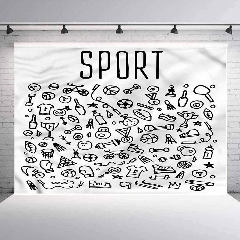 6x6FT Vinyl Photo Backdrops,Fitness,Sports Gym Icons Cute Photo Background for Photo Booth Studio Props