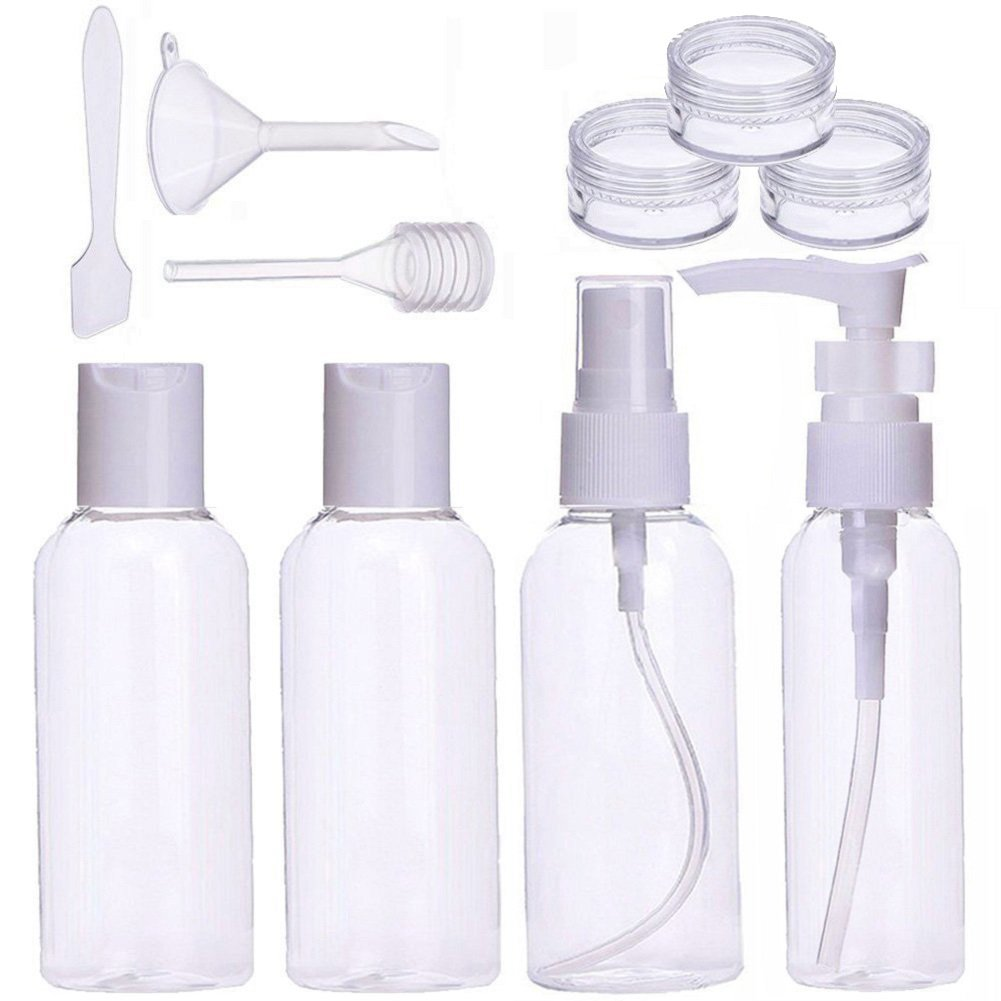 Reiseflaschen set 10 Stück Tragbare Leakproof Reisegröße Transparent Kosmetische Container für Körperpflege Make-up Shampoo Liquid Cream