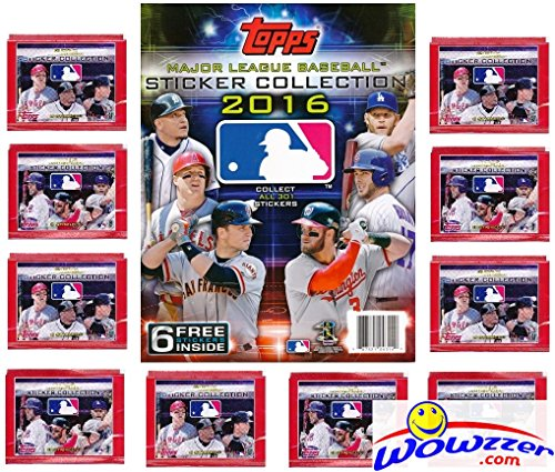 Trout Package (2016 Topps MLB Baseball Stickers Special Collectors Package with 10 Factory Sealed Packs & 32 Page Album! Includes Total of 86 Stickers! Look for Mike Trout, Bryce Harper, Kris Bryant & Many More!)