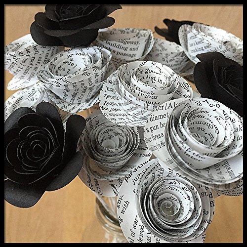 Book Page Paper Flowers, Handmade, 2 Dozen