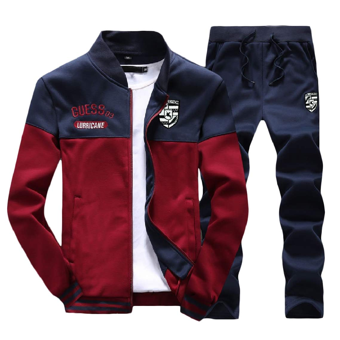 Godeyes Mens Stand Up Collar with Zip Athletic Printing Long-Sleeved Tracksuit Set