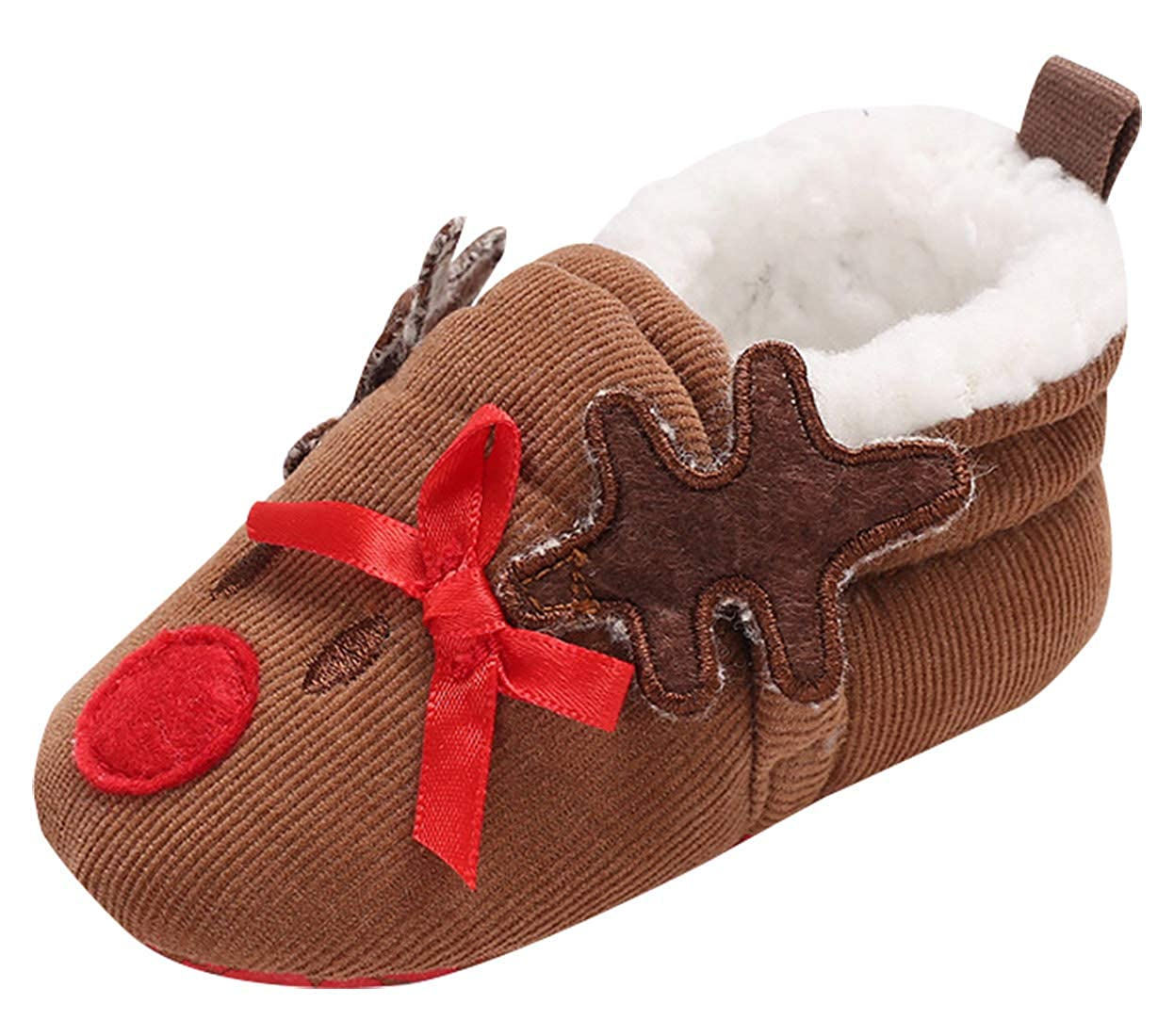 HAPPYCHERRY Christmas Baby Shoes Unisex Baby Boys Girls Winter Warm Shoes Newborns Lovely Shoes First Walkers Baby Shoes Booty