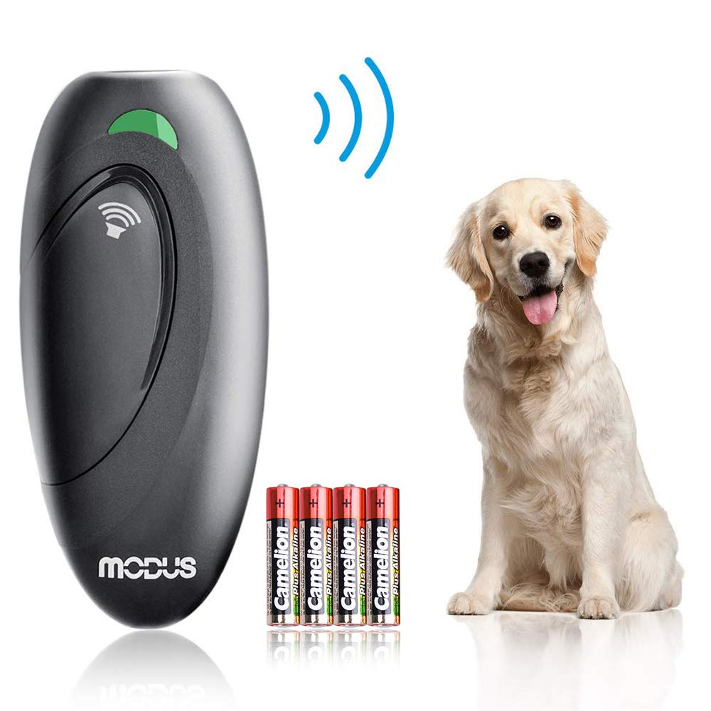 Modus Anti Barking Device, Ultrasonic Dog Bark Deterrent and 2 in 1 Dog Training Aid Control Range of 16.4 Ft w/Anti-Static Wrist Strap LED Indicate 100% Safe Walk a Dog Outdoor by Modus