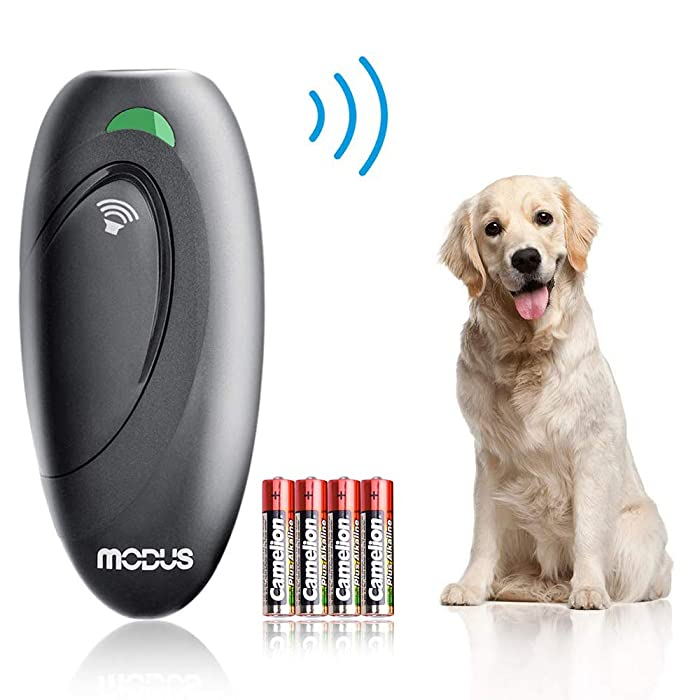 Modus Ultrasonic Bark Control Device, Anti Barking Device Dog Training Aid 2 in 1 Control Range of 16.4 Ft W/Anti-Static Wrist Strap LED Indicate 100% Safe Walk a Dog Outdoor