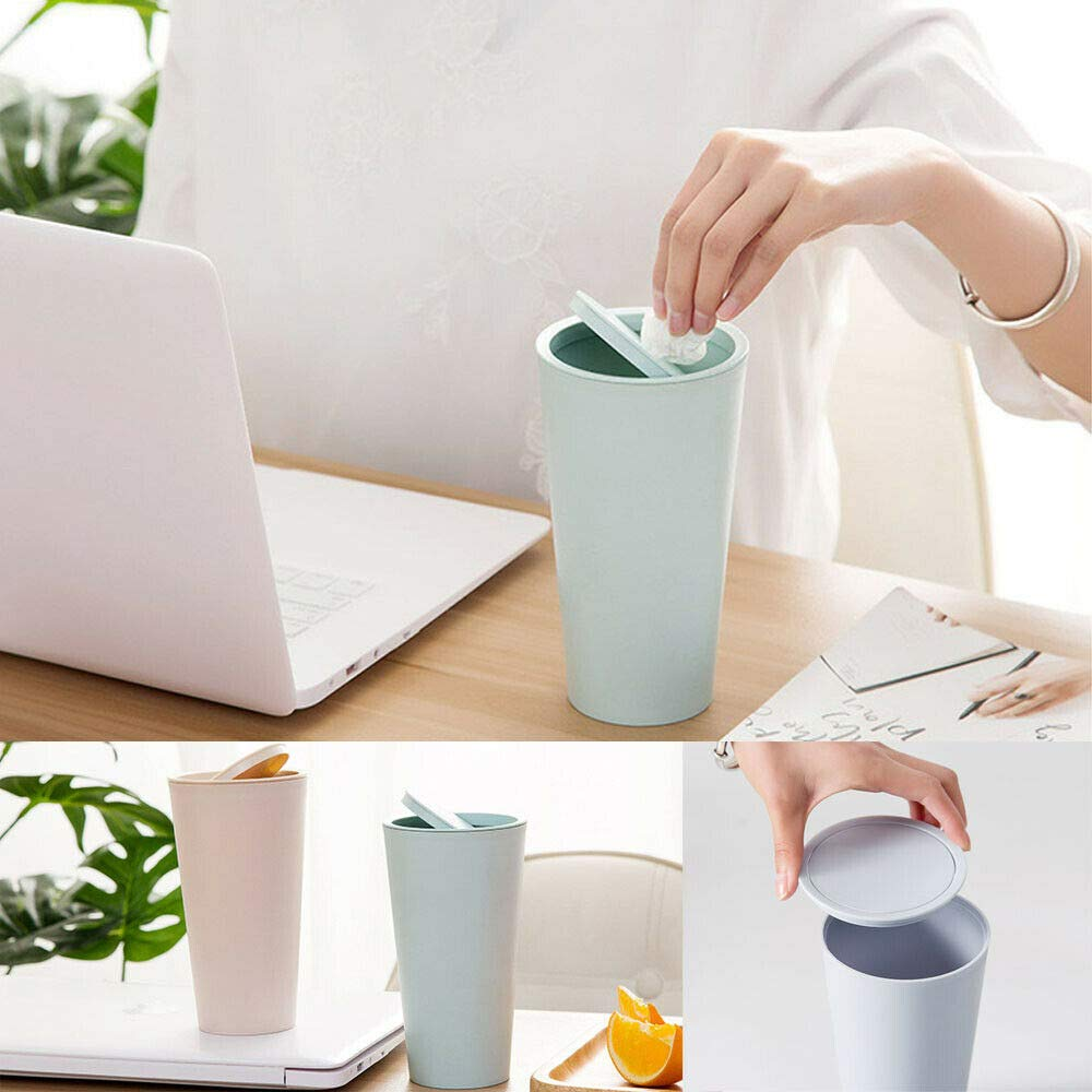 PETU Desktop Garbage Can White, 816.5cm Desk Garbage Can Dust Case Storage Holder Car Mini Trash Rubbish Bin with Lid