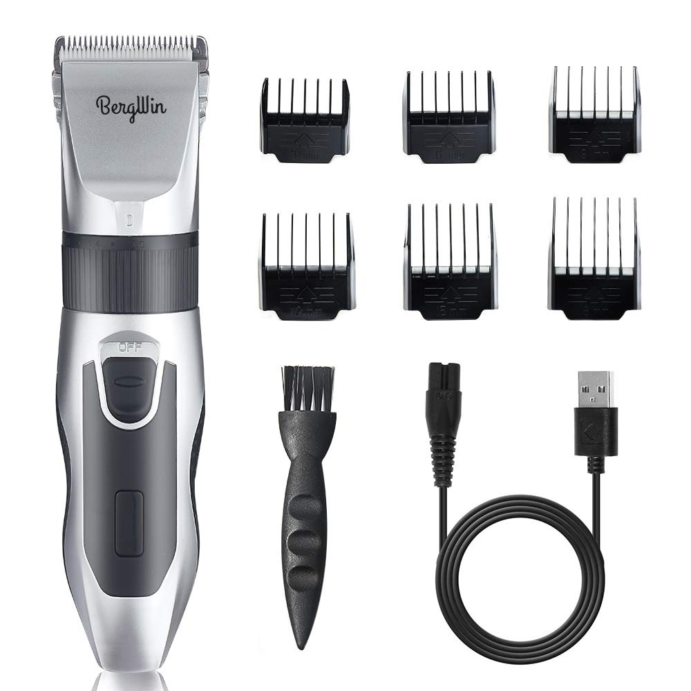 Hair Clippers, Low Noise Hair Clippers for Men Kids, Cordless Hair Clippers Beard Trimmer Grooming Kit Professional USB Rechargeable Hair Cutting Kit with 6 Guide Combs for Hair Cutting