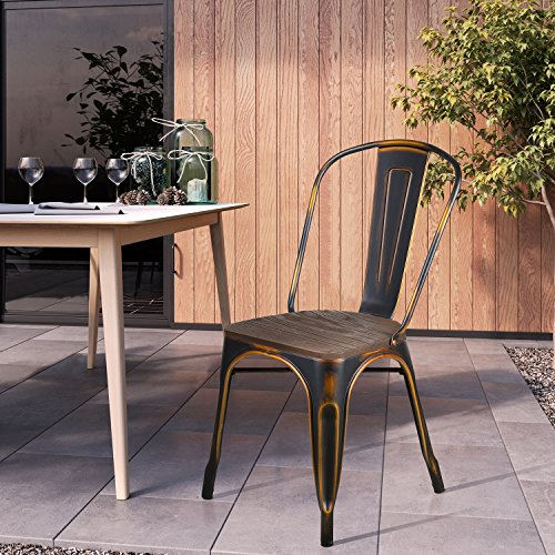 LCH Industrial Metal Wood Top Stackable Dining Chairs, Set of 4 Vintage Indoor/Outdoor Stackable Bistro Cafe Chairs with Back, 500LB Limit, Antique Bronze by LCH (Image #3)