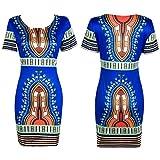 (US) Pervobs Dress Women Traditional African Print Dashiki Bodycon Sexy Short Sleeve Dress (M, Blue)