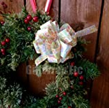 Gift Wrap Pull Bows - 5'' Wide, Set of 6, Easter Leaves, Bows for Gifts, Christmas Presents, Holiday Decoration