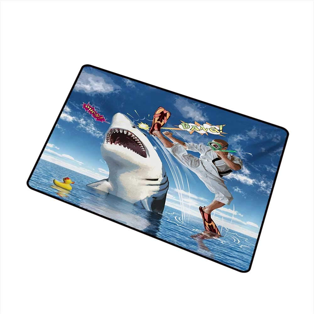 BeckyWCarr Sealife Inlet Outdoor Door mat Unusual Marine Navy Life Animals Fish Sharks with Karate Kid and Comics Balloon Art Catch dust Snow and mud W31.5 x L47.2 Inch,Multicolor by BeckyWCarr