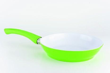 Sarten ceramica de 20 cm con base color verde