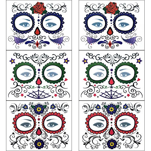 [COKOHAPPY Glitter Day of the Dead Sugar Skull Rose Floral Temporary Face Tattoo Kit - Pack of 6 Kits] (Sugar Skulls Makeup)