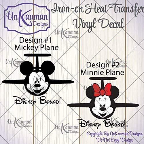 Disney Bound Mickey OR Minnie Plane Iron On Vinyl Decals]()