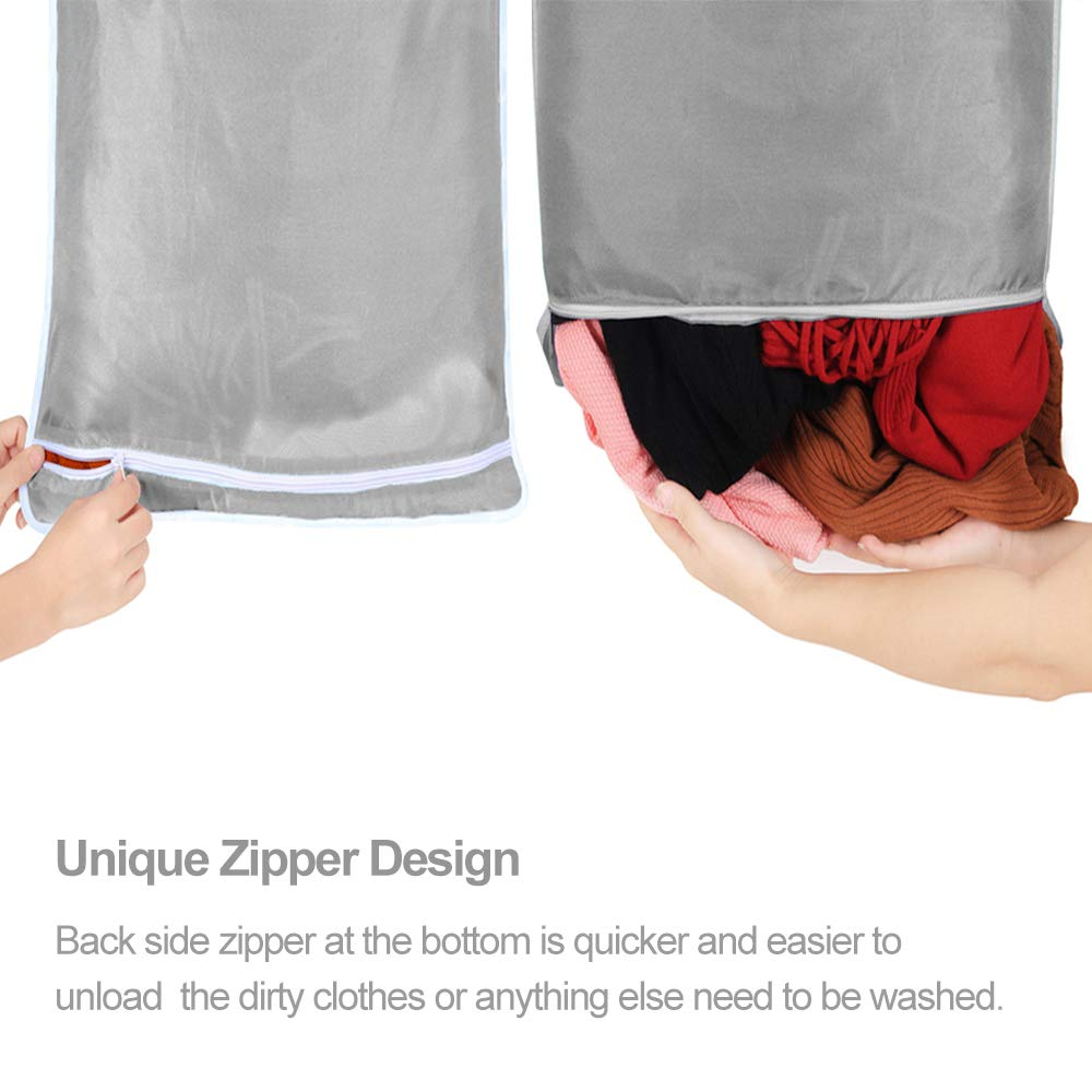 Space Saving Wall Hanging Laundry Basket Laundry Bag with 2 PCs ...