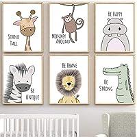 HHXX9 Cebra hipopótamo Jirafa león cocodrilo vivero Pared Arte Lienzo Pintura nórdica Carteles e Impresiones Pared Cuadros bebé niños habitación decoración-40x50cmx6 sin Marco