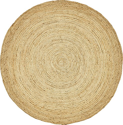 Unique Loom Braided Jute Collection Hand Woven Natural Fibers Natural Round Rug (8' 0 x 8' ()