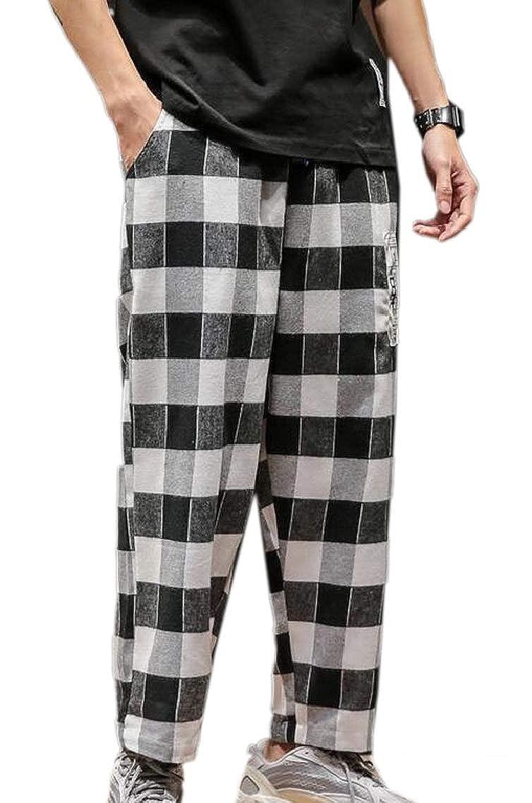 Men Casual Plaid Sports Pants Trousers Baggy Harem Long Pants