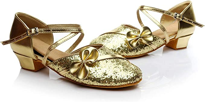 Moonker Girls Teen Summer Sandals Shoes 5-14 Years Old Kids Children Bling Bowknot Ballroom Tango Salsa Latin Dance Shoes