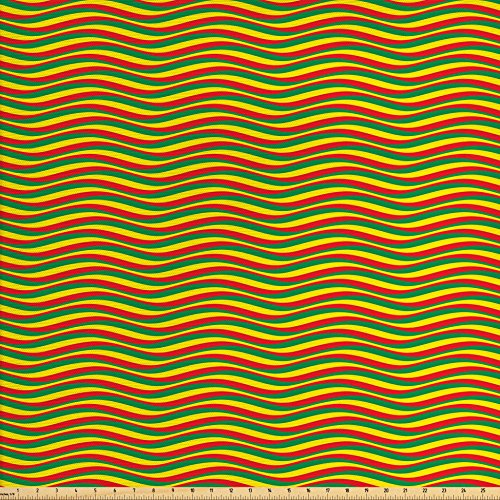 Wavy Stripe Quilt Fabric - Ambesonne Rasta Fabric by The Yard, Vivid Colors Ethiopian African Flag Colors in Wavy Style Stripes Image, Decorative Fabric for Upholstery and Home Accents, Marigold Green and Red
