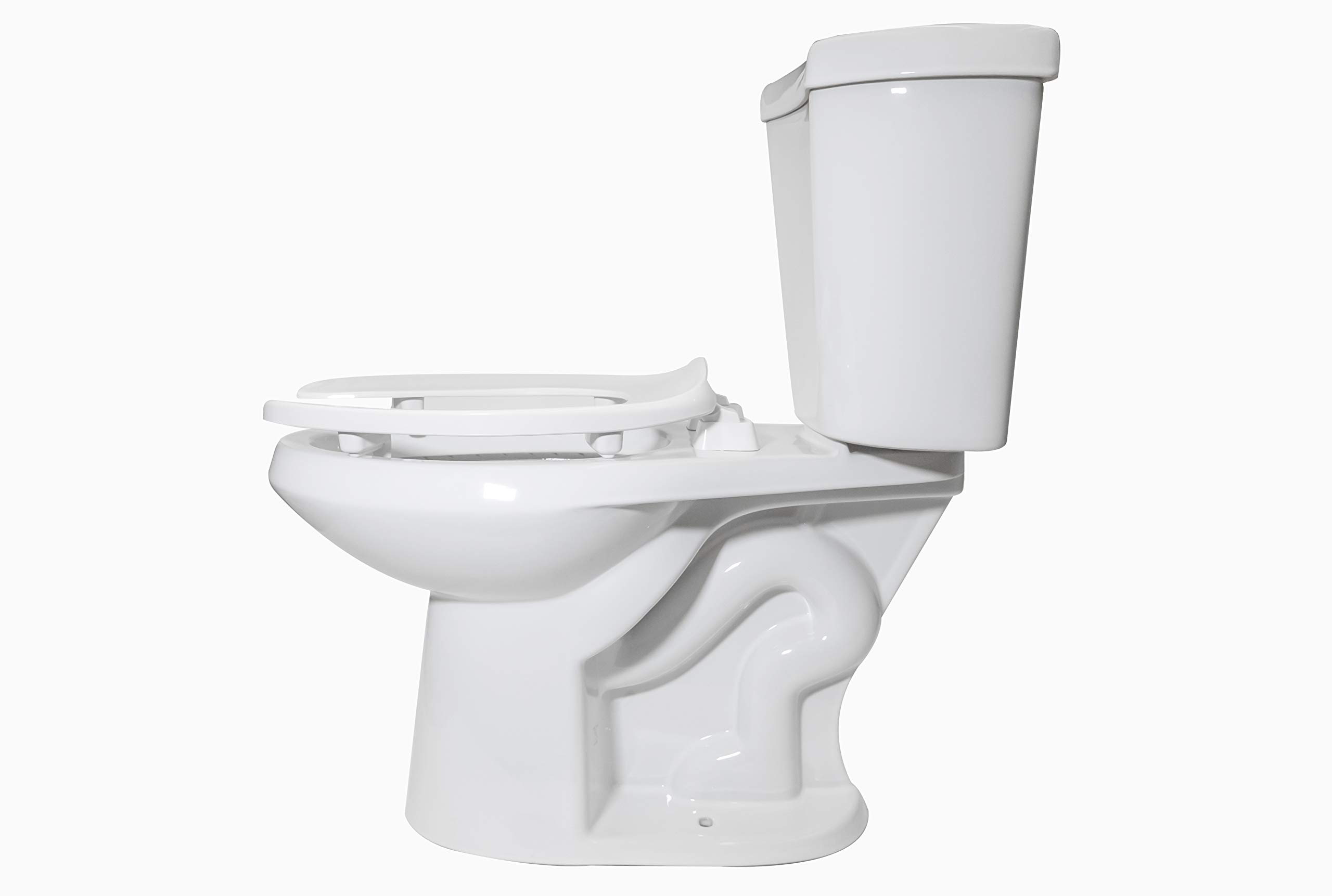 Centoco HL500STSCC-001 Elongated 2'' Lift, Raised Plastic Toilet Seat, Open Front No Cover, ADA Compliant Handicap Medical Assistance Seat, Heavy Duty, White