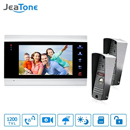 Jeatone New 7 Inch Video Doorbell Monitor Intercom With 1200TVL