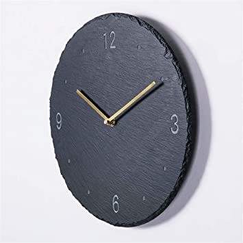 Image of GRENSS - Reloj de pared de 12 pulgadas Creative Slate para salón, estilo moderno, 10 pulgadas, 01, 12 pulgadas