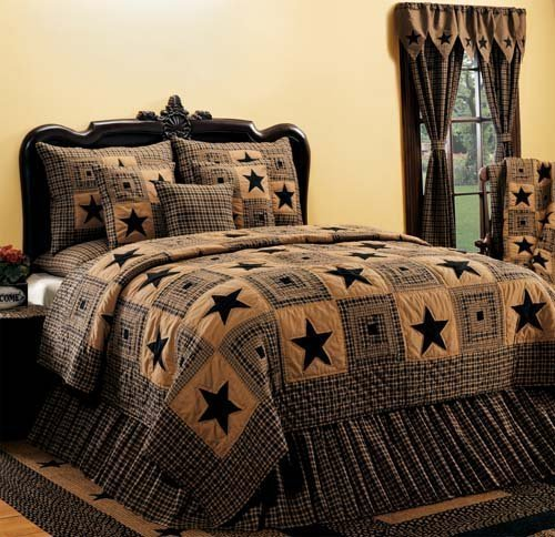Cotton King Bed Skirt India Home Fashions Vintage Star Black 78 x 80 Black with Tan by IHF Home Decor