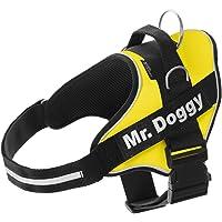 Mr.Doggy Arnés Personalizado para Perros - Reflectante - Incluye 2 Etiquetas con Nombre - Todos los Tamaños - De Calidad…