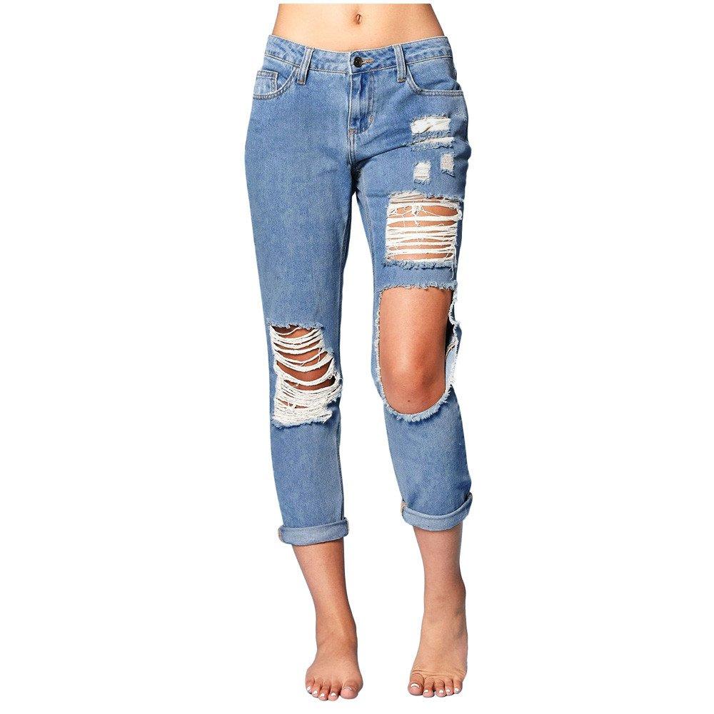 Women Shirts Hot! WEUIE Women's Blue Denim Stretch Jeans Destroy Skinny Ripped Distressed Pants (M,Blue)