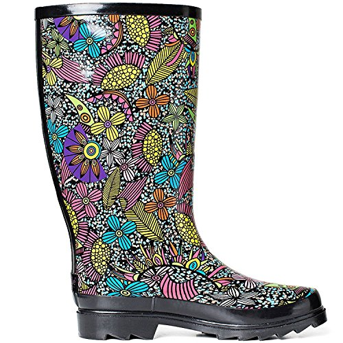 SheSole Rubber Waterproof Boot Women's Black Rain fqfZn4WxF