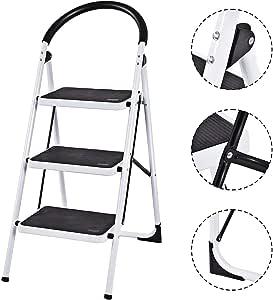 Escalera de 3 4 peldaños, antideslizante, de goma, plegable, con marco de hierro, multiusos, de alta calidad: Amazon.es: Bricolaje y herramientas
