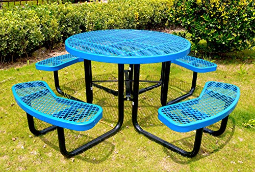 Lifeyard 46″ Outdoor Furniture Round Table Picnic Table, Blue