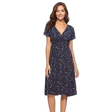 97839b8b9ed general3 Womens Vintage Shirt V Neck Short Sleeve Holiday Floral Print  Dress Party Knee Length Dress