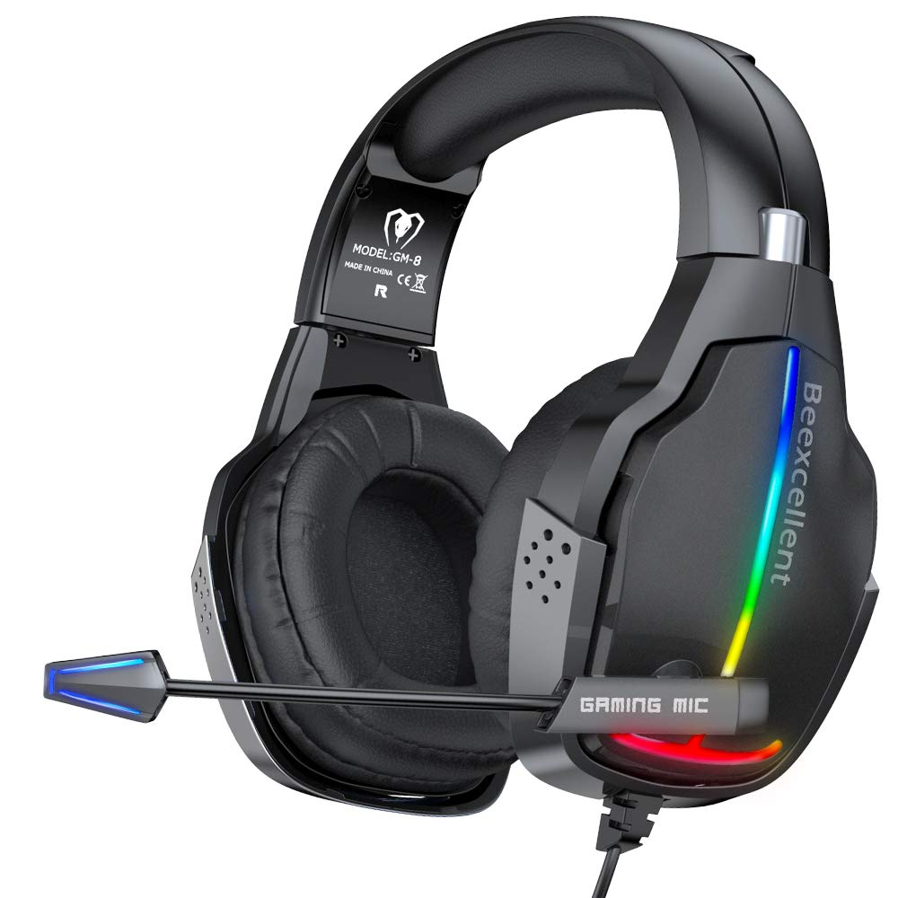 RGB Stereo Gaming Headset PS4 Xbox One Wired Headset Headphones with 50mm Driver, Comfortable Adaptive Earmuffs, Volume Control, Clear Mic, Compatible with Playstation 4, Xbox 1, NS, PC Mac Grey