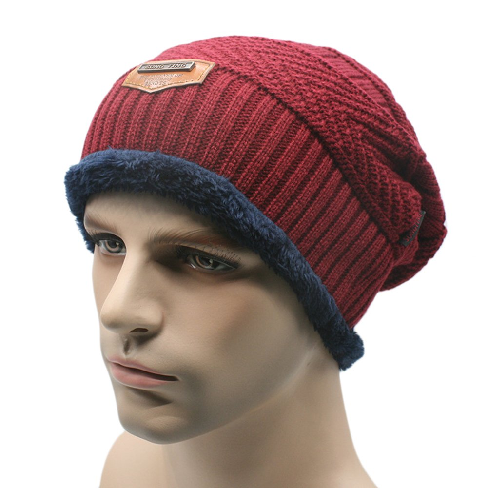 VLUNT beanie cap very soft fleece inner lining casual crochet beanie knitted beanie ski hat winter hat Slouch Beanie unisex