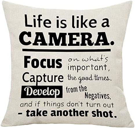 Amazon Com Ashasds Life Is Like A Camera Words To Live By Focus On What S Important Linen Throw Pillow Covers For Home Indoor Cushion Standard Size 16x16 In Home Kitchen