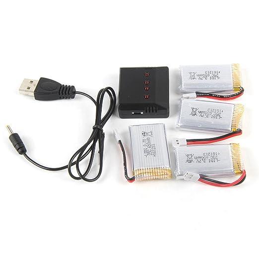 4 baterías de 3,7 V 650 mAh + cargador 5 en 1 para Syma X5A X5C ...