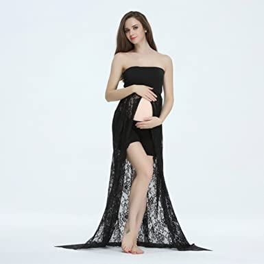 4d32078a2f6fe Boob Tube Lace Maternity Gown 67inch Split Front Maternity Dresses for  Photography Black at Amazon Women's Clothing store: